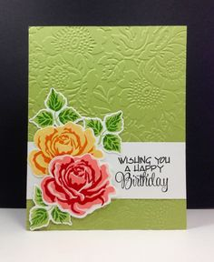 handmade birthday card ... Earth Day Flowers .. double stamped roses ... luv the gorgeous embossing folder texture in the background ...
