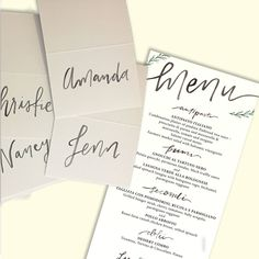 Floral Greenery Hand Lettered Wedding Menu and Placecards   Custom Wedding Menu and Escort Cards   Anchored Creative Studio