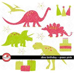 Digital Clip Art Pack – Five dinosaurs, birthday cake, candle, three presents, three stars and three party hats.  Images come in high quality, 300