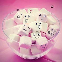 Grab These Cute Marshmallows! Grab These Cute Marshmallows! Marshmallow Face, Marshmallow Flowers, Cute Marshmallows, Recipes With Marshmallows, Easter Bunny Cupcakes, Coffee Bar Signs, Hot Chocolate Mug, Pink Day, Cute Cartoon Wallpapers