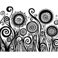 Original Ink Pen Drawing of Flowers, Swirls, and Pods 11x14 Black and... ($30) ❤ liked on Polyvore featuring home, home decor, wall art, flower wall art, ink drawing, leaf drawing, blossom wall art et flower home decor