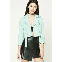 Forever21 Faux Leather Moto Jacket ($35) ❤ liked on Polyvore featuring outerwear, jackets, seafoam, biker jackets, moto jacket, green jacket, faux leather motorcycle jacket and motorcycle jacket