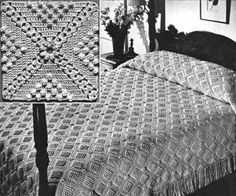On the Square Motif Bedspread Crochet Pattern Crochet Bedspread Pattern, Crochet Patterns, Bedspreads, Crochet Blankets, Tablecloths, Loom Knitting, Vintage Crochet, Afghans, Yarns
