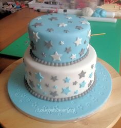 BTS September - Moon and star cake - Kuchen Baby Shower Cakes For Boys, Baby Boy Cakes, Baby Mickey Mouse Cake, Bts Cake, Cherry Blossom Cake, Boys 1st Birthday Cake, Beautiful Cake Designs, Fondant Wedding Cakes, Star Cakes