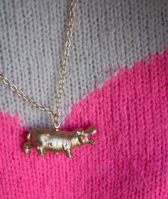 DIY Golden Hippo Necklace - cute to make with kids old plastic animal toys