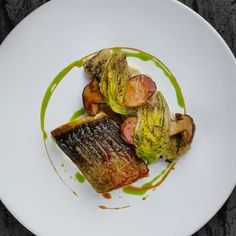 Seabass with cep oxtail and baby gem