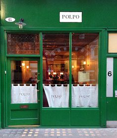restaurant window Polpo London (Covent Garden) Great place for drinks and small plates. Cafe Bar, Cafe Restaurant, Restaurant Design, Covent Garden, London Eats, London Food, Cafe Curtains, Window Curtains, Shop Fronts