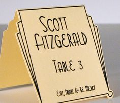 Art Deco Escort & Placecards  (25)- Personalized / Customizable Place Cards,  Perfect for Weddings or Special Occasions