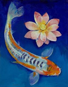 """Koi Fish and Lotus"" by Michael Creese // Original oil on canvas painting by American artist Michael Creese. // Imagekind.com -- Buy stunning, museum-quality fine art prints, framed prints, and canvas prints directly from independent working artists and photographers."