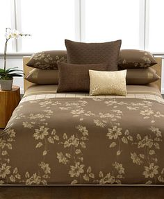 Calvin Klein Bamboo Flowers King Duvet Cover Bedding Collections - Brown pattern bedding double duvet set calvin klein bamboo bedding