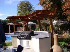 Redwood trellis built over outdoor kitchen in santa clara 95056 Pergola Swing, Pergola Patio, Pergola Kits, Pergola Ideas, Patio Ideas Bbq, Backyard Bbq, Outdoor Ideas, Backyard Ideas, Bbq Bar