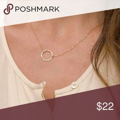 """COMING SOON! •14K Gold Circle Necklace• This adorable minimalistic necklace will become an everyday wardrobe staple! This beautiful necklace is new, with tags. It is 14K gold plated and on a 16"""" chain. This necklace is hypoallergenic (lead and nickel free). No trades. Retails $28. Wila Jewelry Necklaces"""