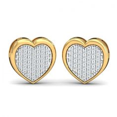 Gold & Diamond Earrings. Certified & Hallmarked Jewellery. #Heartstuffed #Diamond #Stud #Gold #Earrings