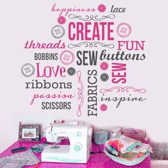 Vinyl Wall Decal Inspirational words associate with creating and sewing. Perfect for every craft/sewing room. Available for sale on Etsy https://www.etsy.com/listing/129404833/2-color-large-sew-sewing-crafts-saying