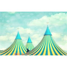 """Carnival home decor-""""circus tent-2"""" carnival photography, nursery wall decor, aqua and yellow photo ($15) found on Polyvore"""