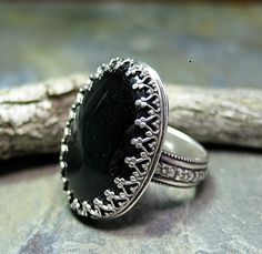 Midnight Garden ring in sterling silver and black onyx   ...from LavenderCottage on Etsy