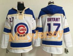 """$45.88 per one, welcome email """"MaryJersey"""" at maryjerseyelway@gmail.com for Cubs 17 Kris Bryant White Sawyer Hooded Sweatshirt Baseball Hoodie"""