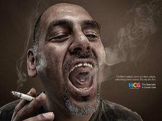 Criança fuma através de tio em anúncio do Hospital de Câncer da Índia