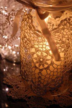 Mason jar & crocheted doily luminarias