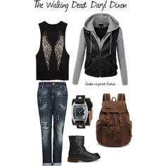 """The Walking Dead's Daryl Dixon Inspired Outfit"" by fandom-inspired-fashion on Polyvore. Based on Daryl Dixon from The Walking Dead, this outfit starts with a tank top with wings similar to the wings on Daryl's vest. The leather vest/sweater combo mimics his usual layered look. Distressed jeans and boots add biker style, and I threw in a leather band watch and canvas bag to complete the look, and give the illusion that you are on the move."