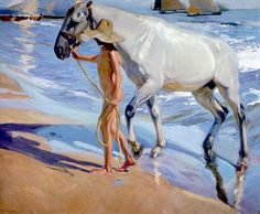 Joaquin Sorolla y Bastida El bano del caballo [The Horse's Bath] painting is shipped worldwide,including stretched canvas and framed art.This Joaquin Sorolla y Bastida El bano del caballo [The Horse's Bath] painting is available at custom size. Painted Horses, Google Art Project, Spanish Painters, Spanish Artists, Arte Equina, Oil Painting Reproductions, Equine Art, Claude Monet, Horse Art