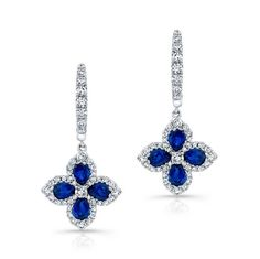 HIGH QUALITY NATURAL COLOR 18K WHITE GOLD FLOWER PEAR SAPPHIRE DIAMOND EARRINGS, DESIGNED WITH ROUND WHITE DIAMONDS, FEATURES 2.16 CARAT TOTAL WEIGHT