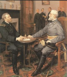 On this April 1865 - Confederate General, Robert E. Lee, surrenders his Army of Northern Virginia to General Ulysses S. Grant at Appomattox Court House, Virginia, marking the end of the American Civil War- REUNITED ONCE AGAIN! Confederate States Of America, America Civil War, Confederate Flag, Military Art, Military History, Us History, American History, Ancient History, Abraham Lincoln