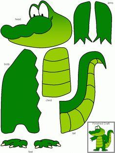 Constructing a crocodile DUTCH Bouw de krokodil Toddler Learning Activities, Preschool Crafts, Preschool Activities, Kids Learning, Animal Crafts For Kids, Art For Kids, Alligator Crafts, Crocodile Craft, Felt Crafts
