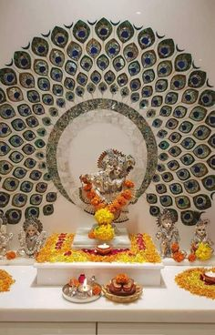 New house designs mandir Temple Room, Home Temple, Ganapati Decoration, Decoration For Ganpati, Ethnic Home Decor, Indian Home Decor, Living Room Designs, Living Room Decor, Temple Design For Home