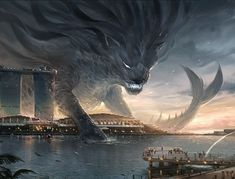 Merlion- by sandara (Fantasy art) Fantasy Concept Art, Dark Fantasy Art, Fantasy Artwork, Fantasy World, Mythical Creatures Art, Mythological Creatures, Magical Creatures, Sea Creatures, Fantasy Monster