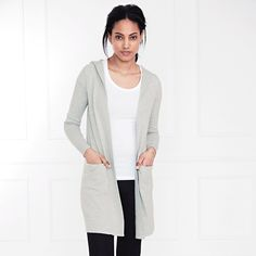 Long Hooded Cardigan - Silver Grey Marl   The White Company