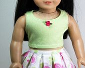American Girl Doll Clothes - Tank and Pleated Skirt, 18 inch doll clothes, floral skirt, spring outfit,sleeveless top, linen skrt