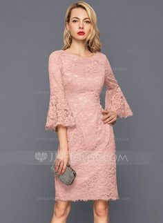 <img> Sheath/Column Scoop Neck Knee-Length Zipper Up Sleeves Sleeves No Dusty Rose Winter Spring Summer Fall General Plus Lace US 2 / UK 6 / EU 32 Cocktail Dress - Bridal Dresses, Prom Dresses, Formal Dresses, Chiffon Dresses, Bridesmaid Gowns, Belted Dress, Bodycon Dress, Dress Brokat, Robes D'occasion