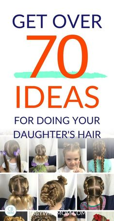 Get over 70 ideas for doing your daughter's hair. Over 70 Beautiful and Easy Hairstyles for Girls. These are hairstyles that your daughter can wear to school. Included are braids ponytails up dos buns pigtails and half-up dos. Winter Hairstyles, Trending Hairstyles, Hairstyles For School, Girl Hairstyles, Braided Hairstyles, Toddler Hairstyles, Christmas Hairstyles, Healthy Hair Tips, Braided Ponytail