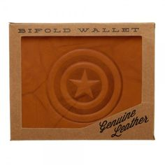 Captain America Shield Genuine Leather Bi-Fold Wallet Marvel Comics Gift  #Bioworld #Bifold