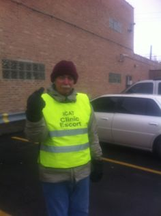 Another pinner wrote: This is a post dedicated to Dennis the clinic escort.    Dennis is a grandfather who drives 40 minutes each way (sometimes on his motorcycle!) to escort here in the city on Thursday mornings; he often volunteers on Saturday mornings, too. He posted this photo on Facebook to show me that gloves are better than mittens for, um, communicating with anti-choicers.    Men who are committed to protecting abortion access make me so happy. <3