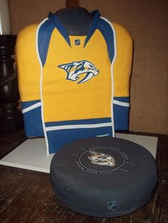Nashville Predators Hockey jersey, puck cake  created by: Cakes by Mom and Me, LLC