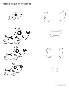 Associe chaque chien à son os - Activité à imprimer Free Preschool, Preschool Kindergarten, Preschool Worksheets, Silent Book, 4 Kids, Children, Toddler Learning, English Lessons, Learn French