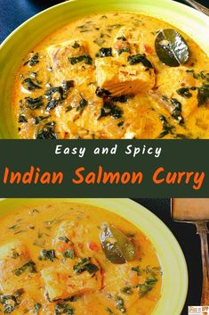 This one - pan easy Indian Salmon Curry with coconut milk, spinach and kafir lime is bursting with flavourful spices and health. It is a perfect weekday dinner for a spicy tasty change. #healthysalmonrecipe #ketosalmon #easyindianrecipes