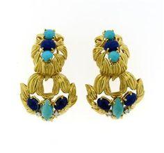 1960s 18K Gold Turquoise Lapis Diamond Doorknocker Earrings