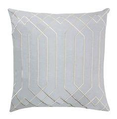 """Jillian Hollywood Regency Linen Down Light Grey Pillow - 18""""x18"""""""