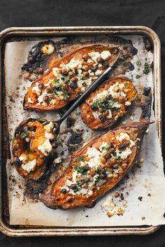 Chickpea and goat cheese stuffed sweet potatoes