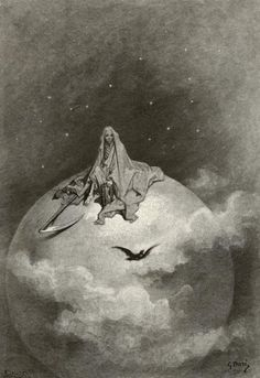 """Gustave Doré - La Mort représentée comme la sinistre moissonneuse au-dessus du Monde (1883) - Gravure sur bois, illustration pour """"Le corbeau"""" (The Raven), un poème narratif d'Edgar Allan Poe."""