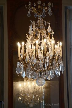 Paris Photography Crystal Chandelier Reflection by KathyFornal
