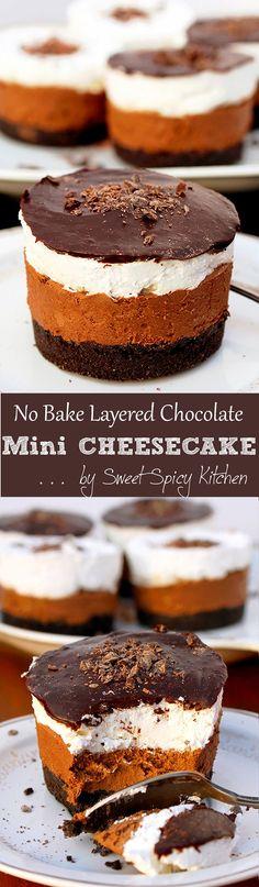 No Bake Layered Chocolate Mini Cheesecake