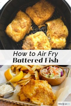 Beer Battered Fish and Chips is an all time favorite British meal. Though it is usually deep-fried, now you can make it with less guilt by air-frying your beer battered cod. So easy and tasty - perfect with some air fried chips and malt vinegar. Air Fryer Oven Recipes, Air Frier Recipes, Air Fryer Dinner Recipes, Fried Fish Recipes, Seafood Recipes, Cooking Recipes, Air Fried Fish, Deep Fried Fish Batter, Fish Fry