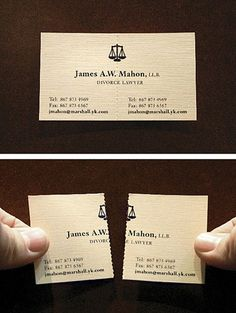If I ever get divorced, I'd want to use a lawyer with a card like this.