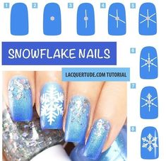 Snowflake nails tutorial from lacquertude.com