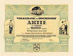 Volksbank in Hochdorf Aktie 2.000 Fr. 31.12.1926 (Auflage 1400). Banks, Volksbank, Savings Bank, Switzerland, Movies, Movie Posters, Safe Room, Film Poster, Films