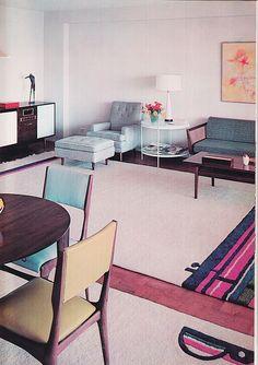 Decoration USA, Jose Wilson and Arthur Leaman, 1965 Mid Century Interior Design, Mid-century Interior, Interior Design Books, Interior Decorating, 1960s Living Room, Retro Renovation, Vintage Interiors, Vintage Room, Mid Century Decor